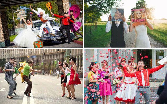 Свадьба в стиле диско - оригинальное торжество в день бракосочетания. Молодожены могут вспомнить эпоху 80-х годов и полностью ей соответствовать: зажигательные танцы, виниловые пластинки, объемные парики, яркие цвета во всем.