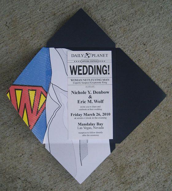 Superman-themed wedding invitation