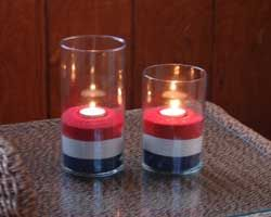 DIY 4th of July sand candle holders