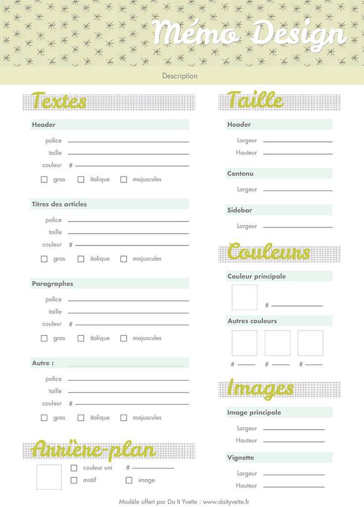 Une fiche pour noter les couleurs, les tailles et toutes les caractéristiques du design de votre blog