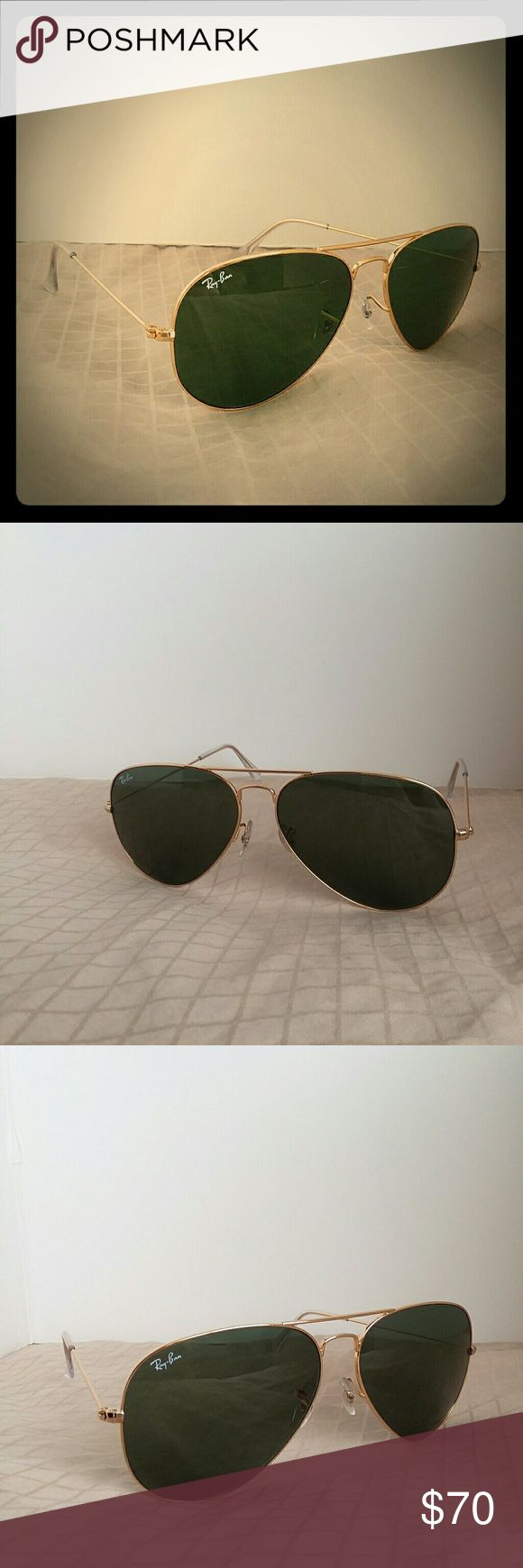 Great condition Classic Ray-Ban aviator large Great worn condition,  no damage or scratches on lenses, brown case,  cloth and icons booklets never used will be included. No box. Made in Italy. Authentic. RB3026 L2846 62-14 3N. 100% UV Protection. Gold frame with classic G-15 lenses. Size XL 62mm.  Great sunglasses, iconic style, timeless classic! Ray-Ban Accessories Glasses