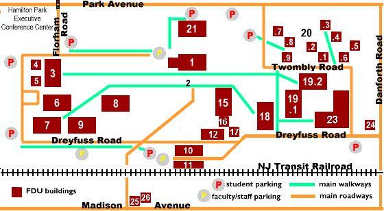 Florham Campus Schematic Map - Fairleigh Dickinson University (FDU)