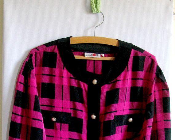 Vintage 80s 90s COWL Neck PLAID Shirt Bright Pink by vintachi