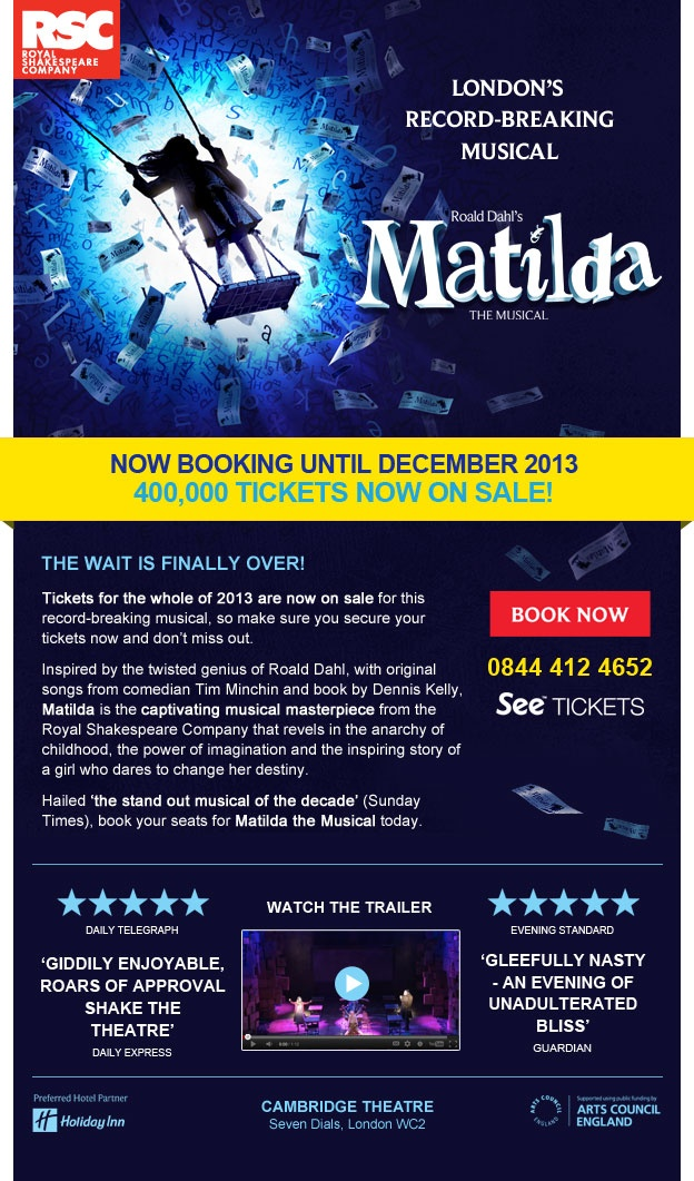 Matilda ticket launch email