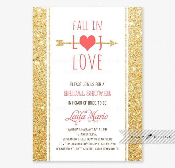 fall in love bridal shower invitation printed gold coral glitter pink wedding engagement couples monogram brunch baby sprinkle white 017