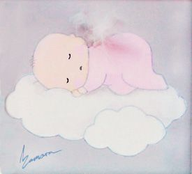 Aida Zamora - Art for kids. Custom paint. Cuadro infantil personalizado. Baby on cloud