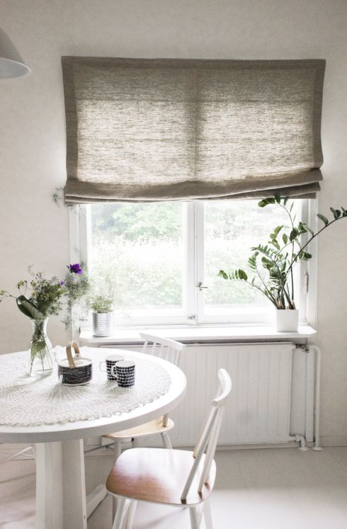 This is close! scandinavian dining room with linen blind ada and ina