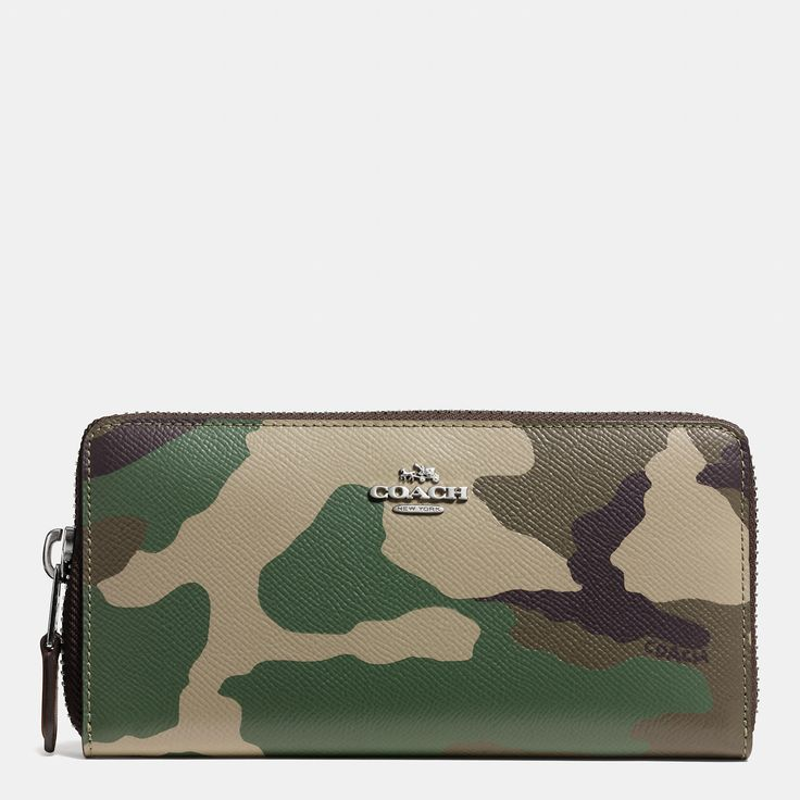 Accordion Zip Around Wallet in Camo Print Crossgrain Leather