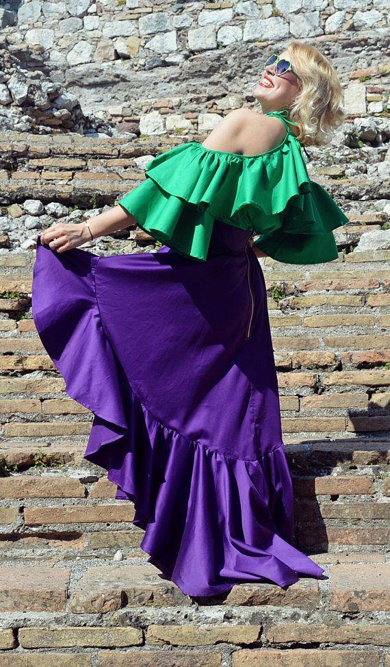 Purple Ruffled Cotton Skirt Extravagant Ruffled Skirt Purple