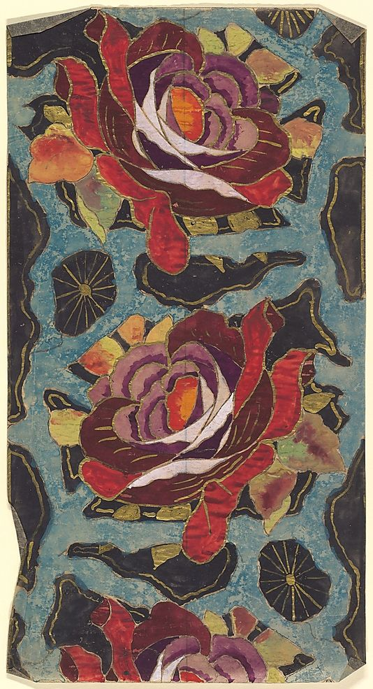 Pattern w/ Red & Purple Roses Against a Blue & Black Background ~ unknown French artist, ca1910-1929