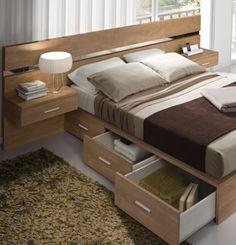 aprovechando el espacio en el dormitorio de matrimonio, cama con cajones contenedores y mesitas elevadas www.moblestatat.com horta guinardó barcelona mobles tatat