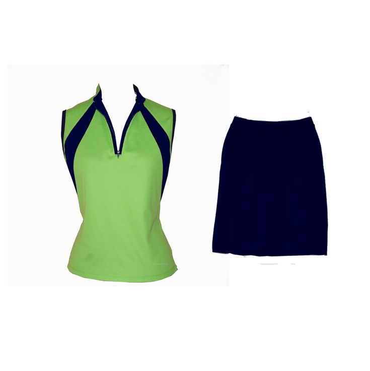 Classic sleeveless top with navy inserts, and matching skort with built in shorts. Tres chic.