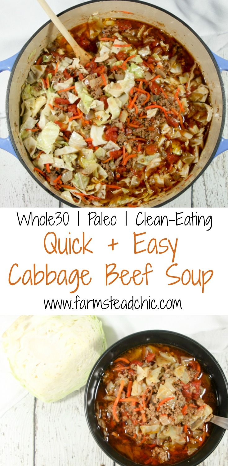 This Paleo & Whole30 Cabbage Beef Soup, packed with loads of vitamin C, fiber and protein, will warm your bones while healing your body + soul this winter. (Paleo Meals Sausage)