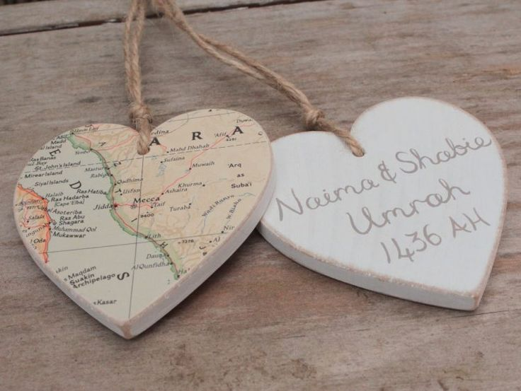 Hajj or Umrah Mubarak gift - wooden heart with map of Mecca and Medina, personalised in Arabic or English