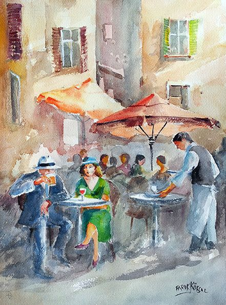 Reconciliation  Original watercolor painting of by Faruk Köksal