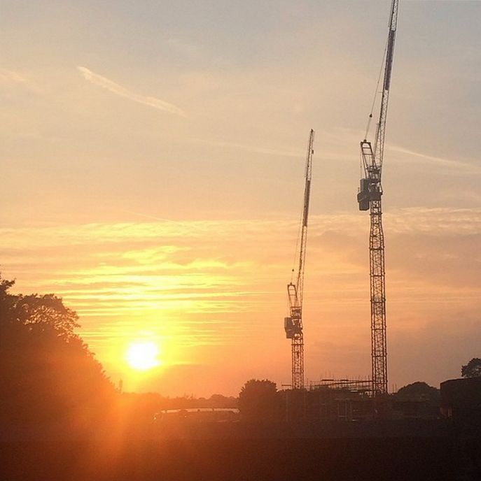 Matt Beveridge snapped cranes and setting sun at West Hampstead in September 2014