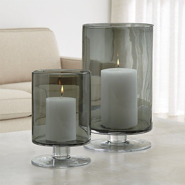 London Smoke Hurricane Candle Holders | Crate and Barrel