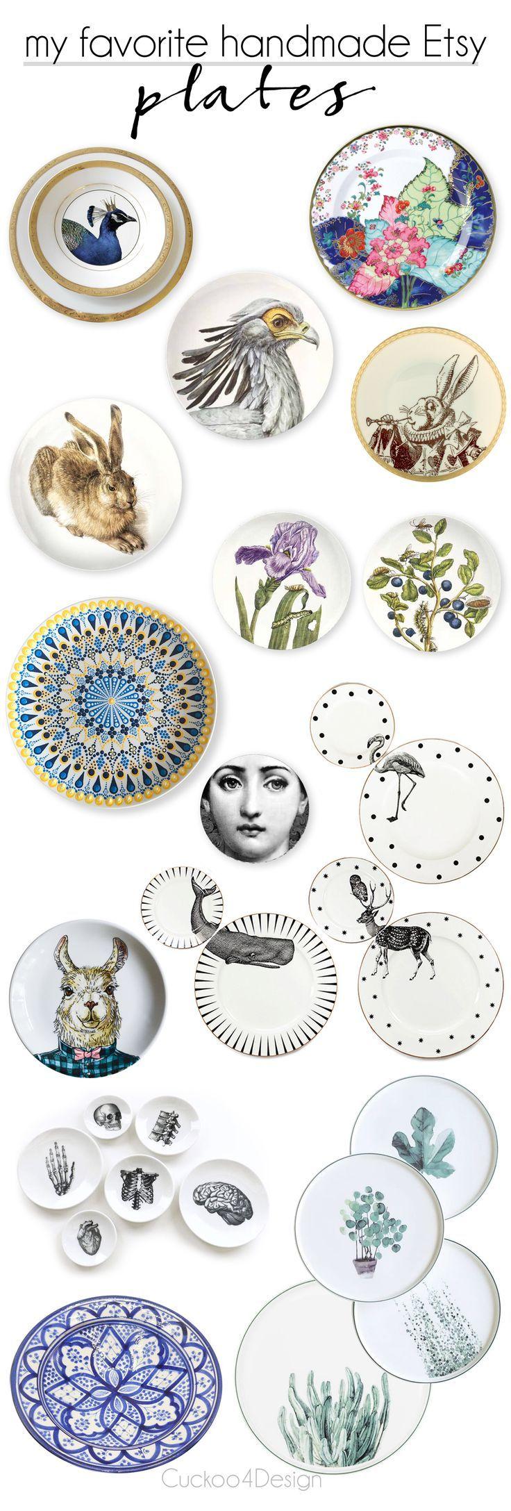 my favorite handmade plates on Etsy | plate gallery wall | handmade plates | botanical plates | Alice in Wonderland plates | anatomy plates | Moroccan plates | Indian plates | Dot Mandala Art plates via @jakonya