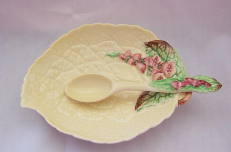 Foxglove : Cream : Preserve Dish & Spoon