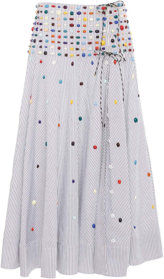 2f6aee16dc76 Rosie Assoulin Beaded Striped Cotton-Poplin Wrap Skirt in 2019 ...
