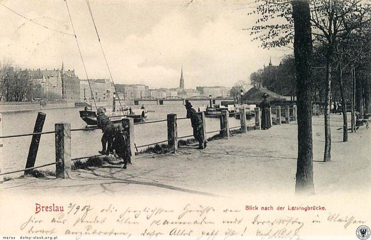 Bulwar Dunikowskiego i widok na Odrę.  Lata 1900-1903