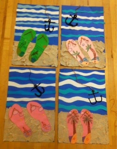 flip flops on the beach collage-elementary art-Art with Mr. Giannetto Blog