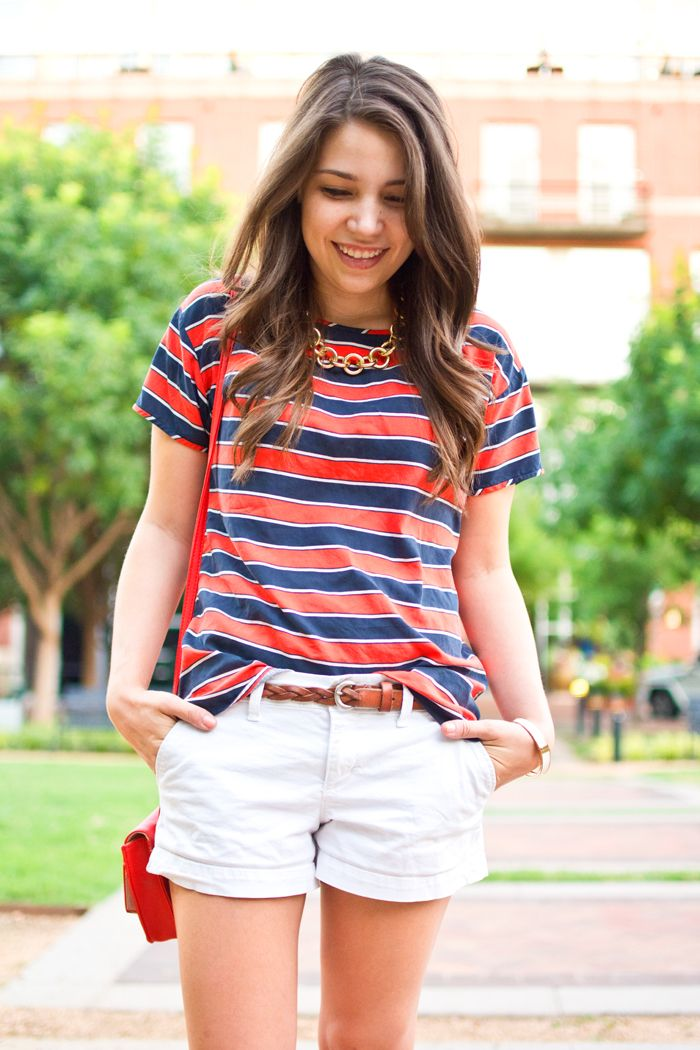 Preppy summer casual red, white and blue outfit for the fourth of july.
