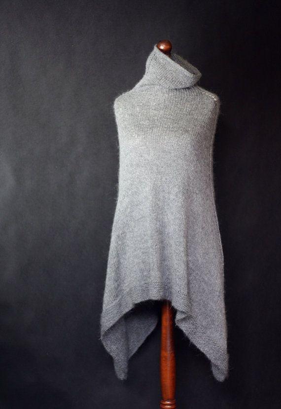 Gray poncho women poncho hand knit poncho knit by KnitwearFactory, $125.00