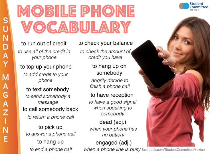 Mobile phone vocab.