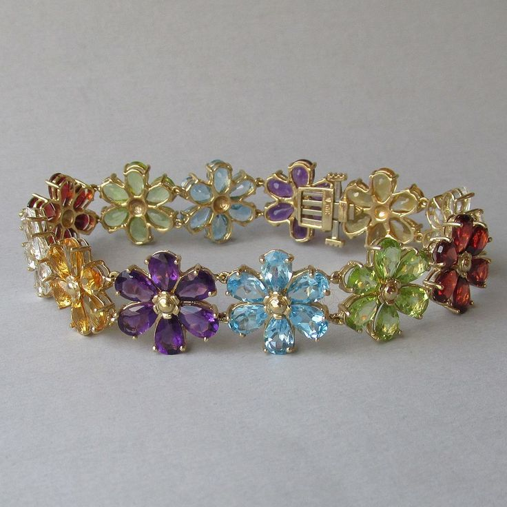 10k Yellow Gold Amp Multi Color Gemstone Flower Link