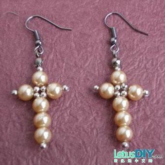 Beaded pearl Cross PATTERN earrings