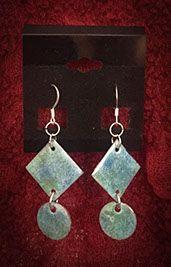 Green & Light Blue Dangle Earrings