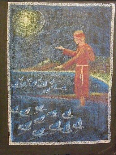Franciscus spreekt tot de vissen. Gewoonlijk doet Antonius dat in Rimini, als de mensen niet willen luisteren.