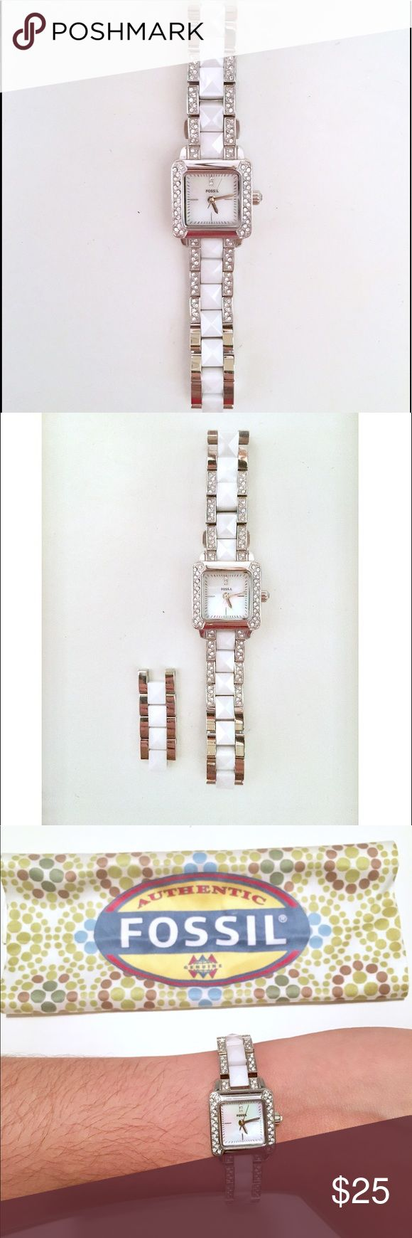 White Fossil Watch with Extension Piece White women's Fossil watch in excellent condition with extension piece and cleaning cloth. Fossil Accessories Watches