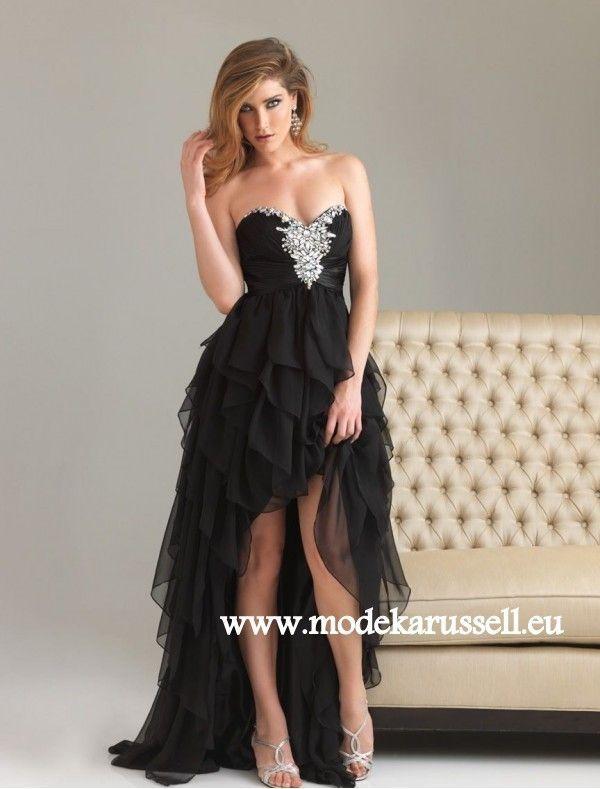 chiffon vokuhila abendkleid in schwarz  dresses prom