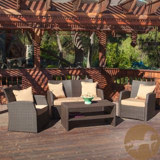 Christopher Knight Home Sanger Outdoor 4 Piece Brown Wicker Seating Set |  Overstock.com