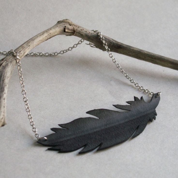 Feather Silhouette Necklace - upcycled bicycle innertube - eco friendly jewelry