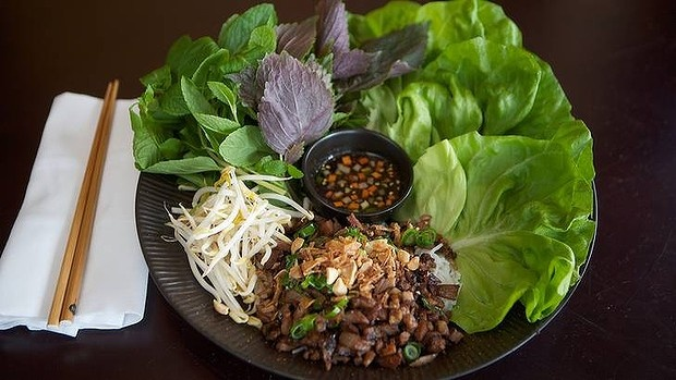 Red Lantern's go-to dish ... chargrilled pork marinated in honey and shallot with fresh herbs and lettuce.