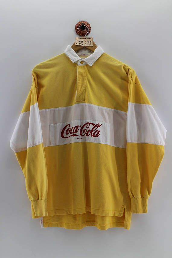 9184a6e025b Vintage 90's COCA COLA Polo Rugby Shirt Men Large Coca Cola Usa Casual  Button Shirt Long Sleeves Colorblock Yellow White Shirts Men Size L