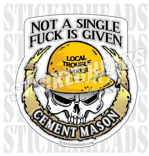 Not a single fuck is given skull ironworkers sticker
