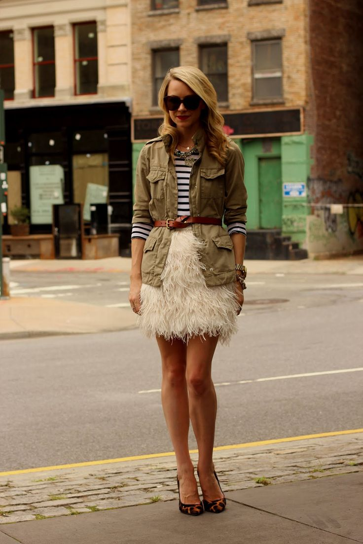 party pretty: Military Jackets, Outfits, Atlantic Pacific, Fashion, Stripes, Feathers Skirts, Karen Walker, Kate Spade, Utility Jackets