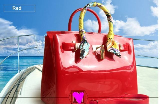 59faa1b5b7 Jelly PVC Waterproof Beach Bag DESIGNER Inspired Birkin Style No Logo