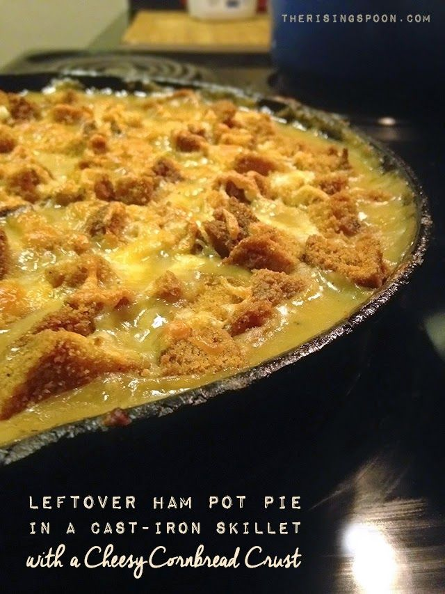 Need a creative idea for using up leftover ham? Try a homemade pot pie recipe! I love ham, beans & cornbread, so I was inspired to mix leftover smoked ham into my latest pot pie, then top it with cubed skillet cornbread and grated cheddar cheese! It was a super comforting and frugal meal. | therisingspoon.com