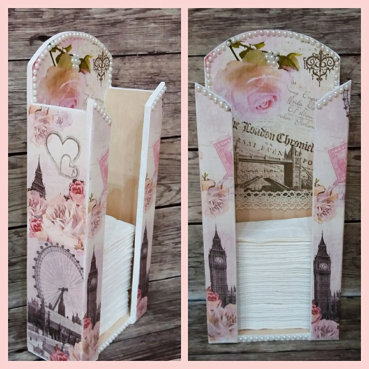 PZS tartó London Decoupage Handmade