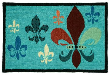 Fancy Fleur De Lis - Teal & Brown Rug transitional rugs