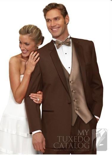 Groom Tuxedos Notch Lapel Best Man Suit Brown Groomsman Men's Wedding/Prom Suits #Handmade #Tuxedo