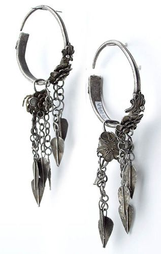 China | Earrings from the Miao people of Guizhou province | Silver | 20th century