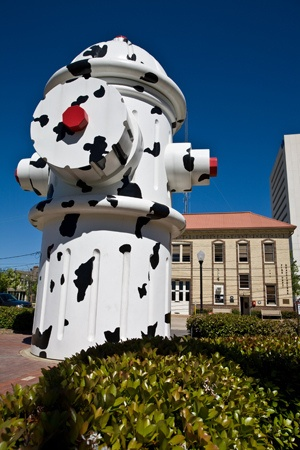 """Giant Hydrant at the Fire Museum of Texas - Beaumont, Texas. Speaking of all things BIG in Texas, our hydrant is bigger than yours! Standing 24 feet tall & weighing over 4,500 pounds, the dalmatian-spotted fire hydrant was donated by Walt Disney at the release of """"101 Dalmatians"""" in 1999."""
