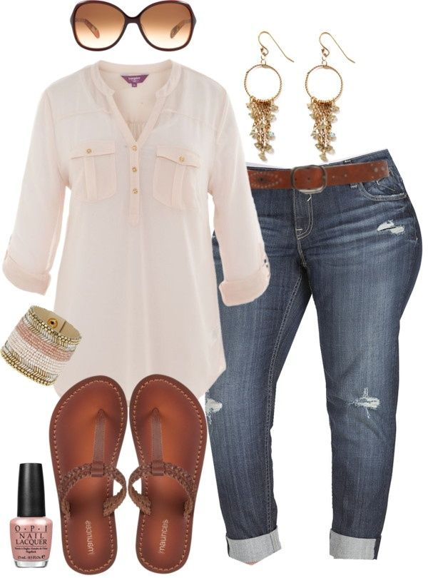 """Boyfriend Jeans & Flip Flops - Plus Size"" by alexawebb ❤ liked on Polyvore .Bags are like bodies ,they come in all shapes and sizes. Try one for size at BongoJazz.co.uk. Everyone wants something to hold on to!"