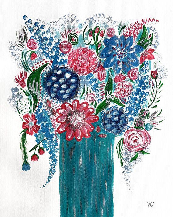 Floral flowers still life acrylic painting original